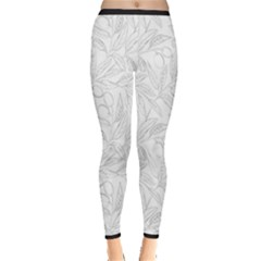 Organic Olive Leaves Pattern Hand Drawn Black And White Inside Out Leggings by genx