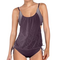 Organic Olive Leaves Pattern Hand Drawn Purple Red Wine Tankini Set by genx