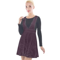 Organic Olive Leaves Pattern Hand Drawn Purple Red Wine Plunge Pinafore Velour Dress by genx