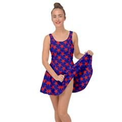 Red Stars Pattern On Blue Inside Out Casual Dress by BrightVibesDesign