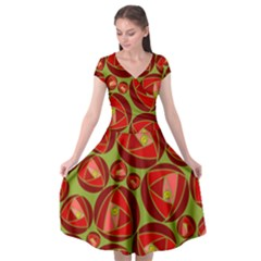 Abstract Rose Garden Red Cap Sleeve Wrap Front Dress