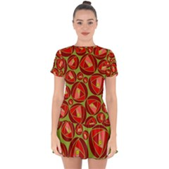 Abstract Rose Garden Red Drop Hem Mini Chiffon Dress