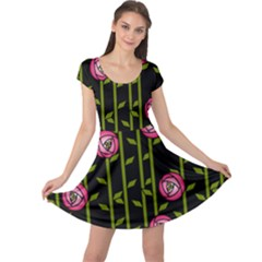 Abstract Rose Garden Cap Sleeve Dress