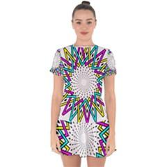 Sun Abstract Mandala Plaid Drop Hem Mini Chiffon Dress