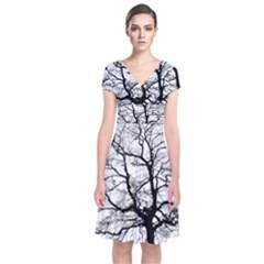 Tree Silhouette Winter Plant Short Sleeve Front Wrap Dress