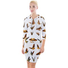 Butterfly Butterflies Insect Swarm Quarter Sleeve Hood Bodycon Dress
