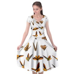 Butterfly Butterflies Insect Swarm Cap Sleeve Wrap Front Dress