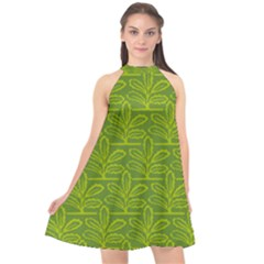 Oak Tree Nature Ongoing Pattern Halter Neckline Chiffon Dress
