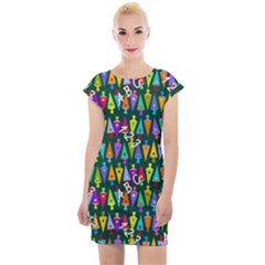 Pattern Back To School Schultuete Cap Sleeve Bodycon Dress