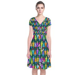 Pattern Back To School Schultuete Short Sleeve Front Wrap Dress