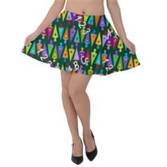Pattern Back To School Schultuete Velvet Skater Skirt