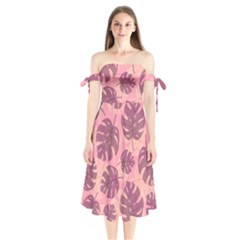 Fancy Tropical Pattern Shoulder Tie Bardot Midi Dress by tarastyle