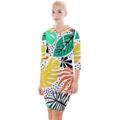 Fancy Tropical Pattern Quarter Sleeve Hood Bodycon Dress by tarastyle