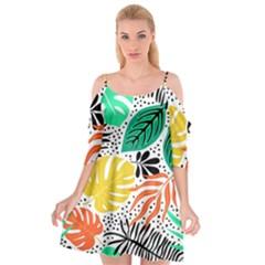 Fancy Tropical Pattern Cutout Spaghetti Strap Chiffon Dress by tarastyle