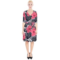 Fancy Tropical Pattern Wrap Up Cocktail Dress by tarastyle