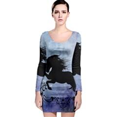 Wonderful Black Horse Silhouette On Vintage Background Long Sleeve Bodycon Dress by FantasyWorld7