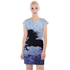 Wonderful Black Horse Silhouette On Vintage Background Cap Sleeve Bodycon Dress by FantasyWorld7