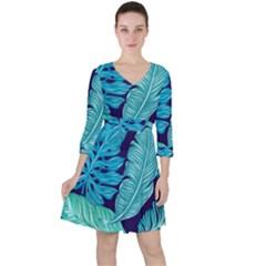 Fancy Tropical Pattern Ruffle Dress by tarastyle