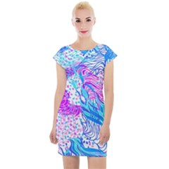 Cute Abstract Pattern  Cap Sleeve Bodycon Dress by tarastyle