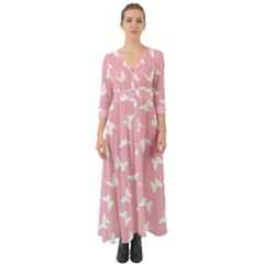 Butterfly Pattern Button Up Boho Maxi Dress