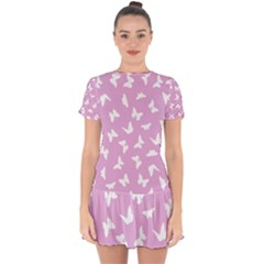 Butterfly Pattern Drop Hem Mini Chiffon Dress by tarastyle