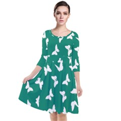 Butterfly Pattern Quarter Sleeve Waist Band Dress by tarastyle