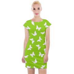 Butterfly Pattern Cap Sleeve Bodycon Dress