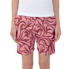 Red Floral Pattern Women s Basketball Shorts by tarastyle