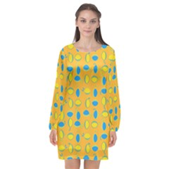 Lemons Ongoing Pattern Texture Long Sleeve Chiffon Shift Dress