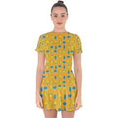 Lemons Ongoing Pattern Texture Drop Hem Mini Chiffon Dress