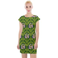 Pattern Nature Texture Heather Cap Sleeve Bodycon Dress