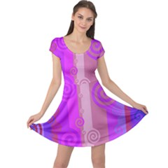 Ring Kringel Background Abstract Purple Cap Sleeve Dress by AnjaniArt