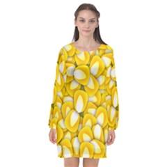 Pattern Background Corn Kernels Long Sleeve Chiffon Shift Dress  by AnjaniArt