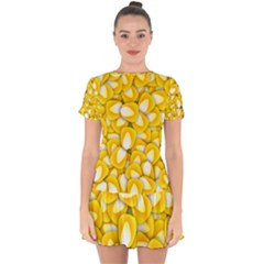 Pattern Background Corn Kernels Drop Hem Mini Chiffon Dress