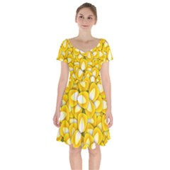 Pattern Background Corn Kernels Short Sleeve Bardot Dress