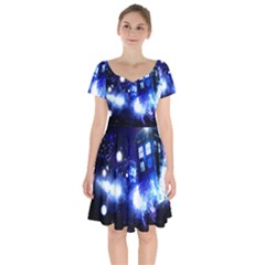 Tardis Background Space Short Sleeve Bardot Dress