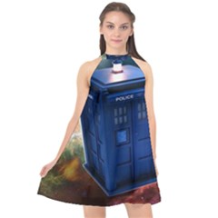 The Police Box Tardis Time Travel Device Used Doctor Who Halter Neckline Chiffon Dress