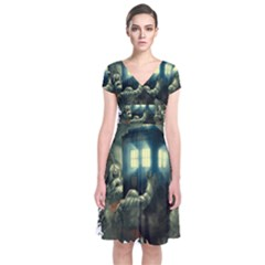 Time Machine Doctor Who Short Sleeve Front Wrap Dress