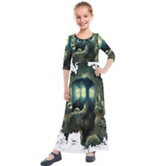 Time Machine Doctor Who Kids  Quarter Sleeve Maxi Dress by Sudhe