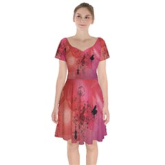 Decorative Clef With Piano And Guitar Short Sleeve Bardot Dress