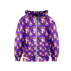 Fox And Trees Pattern Blue Kids  Zipper Hoodie