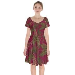 Fern Red Short Sleeve Bardot Dress by snowwhitegirl