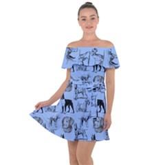 Dog Pattern Blue Off Shoulder Velour Dress by snowwhitegirl