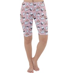 Vintage Lamb Pattern Pink Cropped Leggings  by snowwhitegirl
