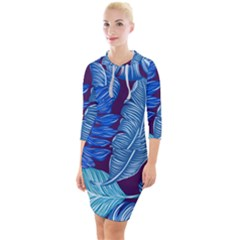 Tropical Blue Leaves Quarter Sleeve Hood Bodycon Dress by snowwhitegirl