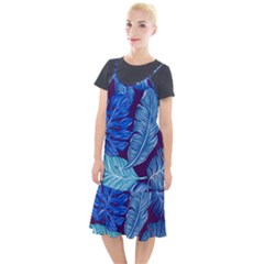 Tropical Blue Leaves Camis Fishtail Dress by snowwhitegirl