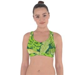 Tropical Green Leaves Cross String Back Sports Bra by snowwhitegirl