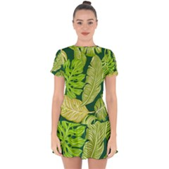 Tropical Green Leaves Drop Hem Mini Chiffon Dress by snowwhitegirl