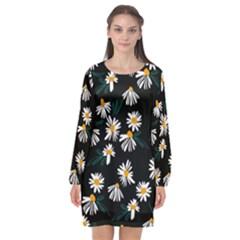 Fancy Floral Pattern Long Sleeve Chiffon Shift Dress