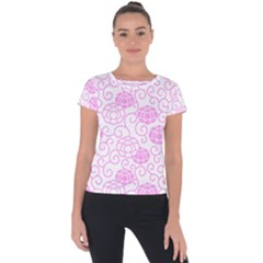 Peony Asia Spring Flowers Natural Short Sleeve Sports Top  by Pakrebo